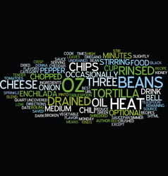 Best recipes three bean enchilada chili text vector