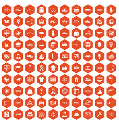100 logistic and delivery icons hexagon orange vector image