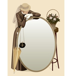 Retro woman with a mirror vector