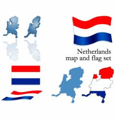 netherlands map and flag set vector image