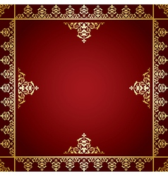 Red background with golden victorian ornament vector