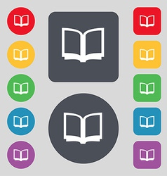 Open book icon sign a set of 12 colored buttons vector