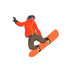 Snowboarder mid-air vector
