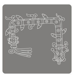 Monochrome icon with symbols from aztec codices vector
