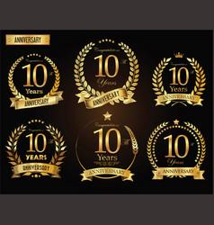 anniversary golden laurel wreath 10 years vector image vector image