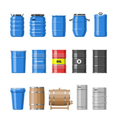 Barrel oil barrels with fuel and wine or vector