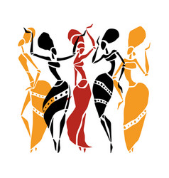 beautiful dancers silhouette vector image vector image