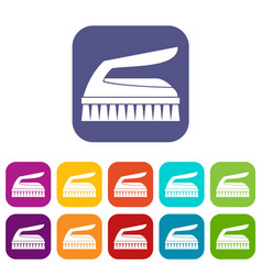 Brush for cleaning icons set vector