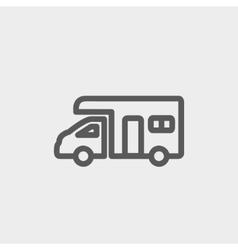 Camper van thin line icon vector image