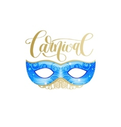 carnival lettering logo design with mask and hand vector image vector image