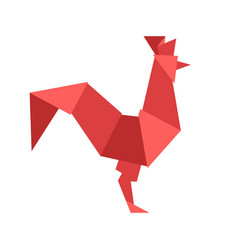 Chinese red rooster isolated on white vector