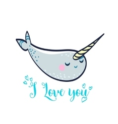 Cute card with manatee vector