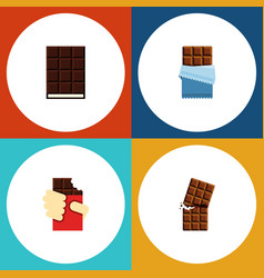 Flat icon cacao set of shaped box bitter wrapper vector