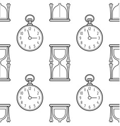 hourglass and pocket watch black and white vector image vector image