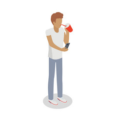 isolated faceless boy drinks something uses phone vector image vector image