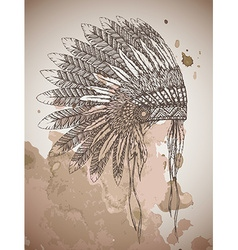 Native american indian headdress with feathers in vector