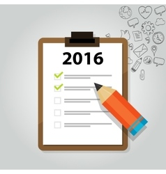New year target resolution goals check mark pencil vector