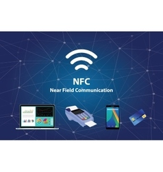 Nfc near field communication with tools technology vector