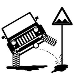 Offroad car pissing 3 vector