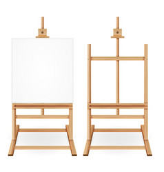 Paint desk wooden easel with empty white vector