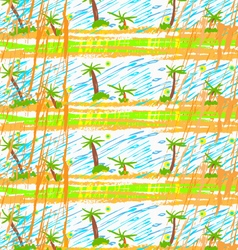 Rough brush palm trees vector image