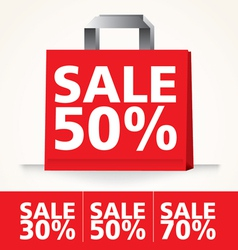 Sale Shopping paper red bag set vector image