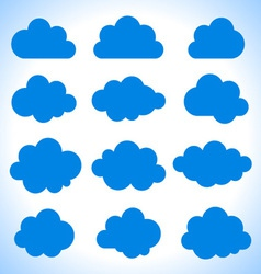 Set of 16 blue clouds vector image vector image