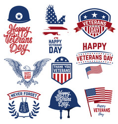 set of happy veterans day emblems emblems with vector image vector image