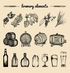Set of vintage brewery hand sketched vector