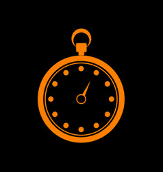 stopwatch sign orange icon on black vector image
