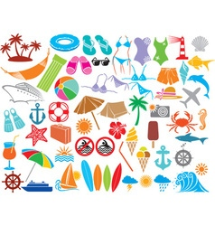 Summer travel icon set vector