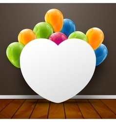 Template poster in interior background with heart vector
