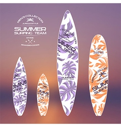 Trendy print on a surfboard vector