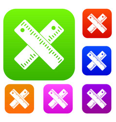 two crossed rulers set collection vector image vector image
