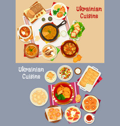 Ukrainian cuisine restaurant dinner icon set vector