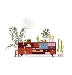 Retro interior with a sideboard vector
