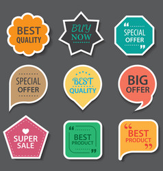 Set of commercial sale stickers elements badges vector
