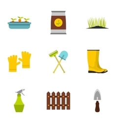Agriculture icons set flat style vector