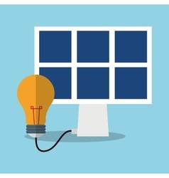 Solar panel and light bulb design vector