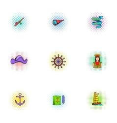 Columbus day icons set pop-art style vector