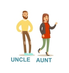 Uncle and aunt happy family having good time vector