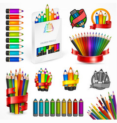 Different style pencils vector