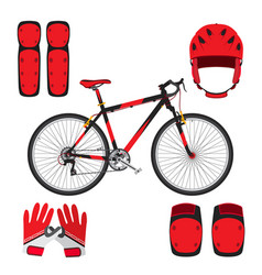 bicycle bike skateboarding equipment and protect vector image