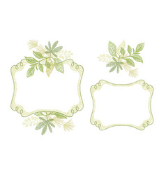 Swirl frame set with green floral ornament vector