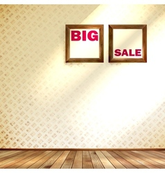 Beige wall wooden floor with big sale frame vector