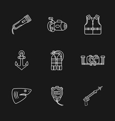 Nine diving icons vector