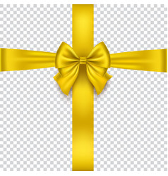 realistic gold bow isolated on transparent vector image