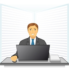 Young man in business office vector
