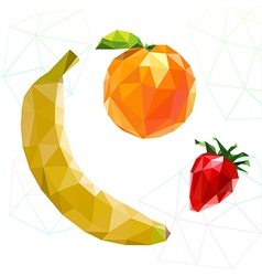 Fruit set of polygons banana orange strawberry vector