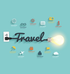 Travel ideas concept creative light bulb design vector